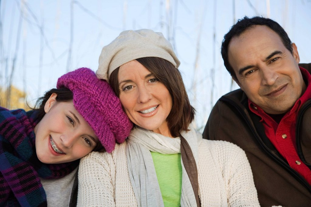 Family together outdoors, portrait : Stock Photo