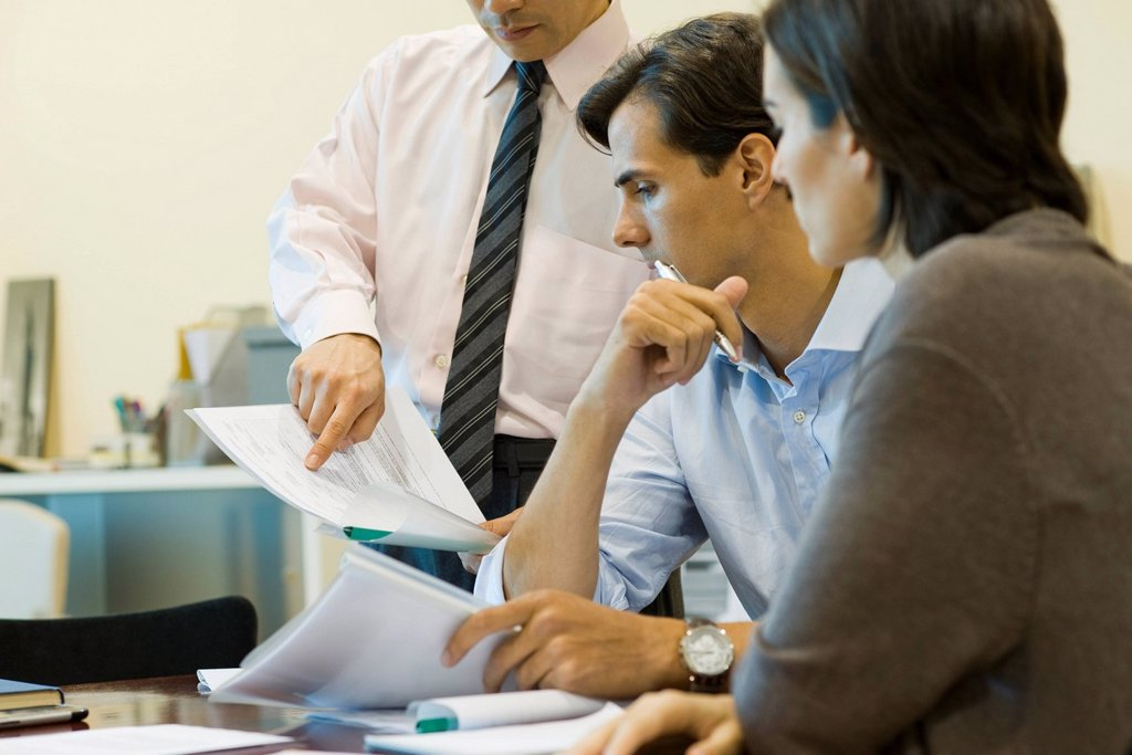 Stock Photo: 1569R-9044559 Executives looking at document together