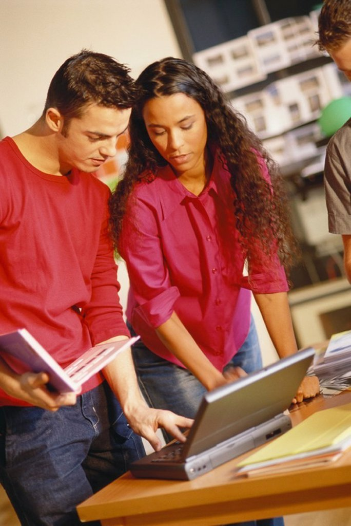 Stock Photo: 1569R-9047985 Two young adults looking at laptop, one holding user´s manual