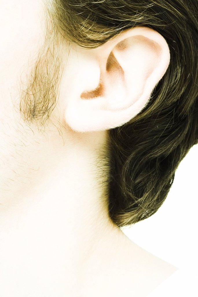 Stock Photo: 1569R-9050388 Young man´s ear, extreme close-up