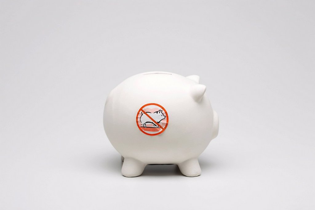 Swine flu concept, piggy bank with no pigs symbol on side : Stock Photo