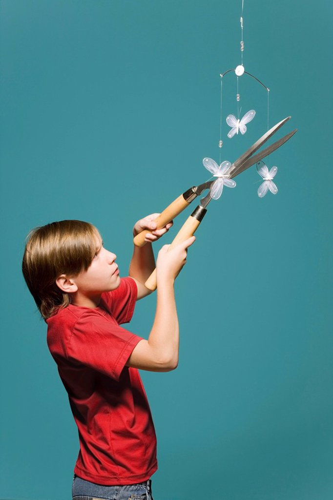 Stock Photo: 1569R-9056639 Boy using hedge clippers to cut down butterfly mobile