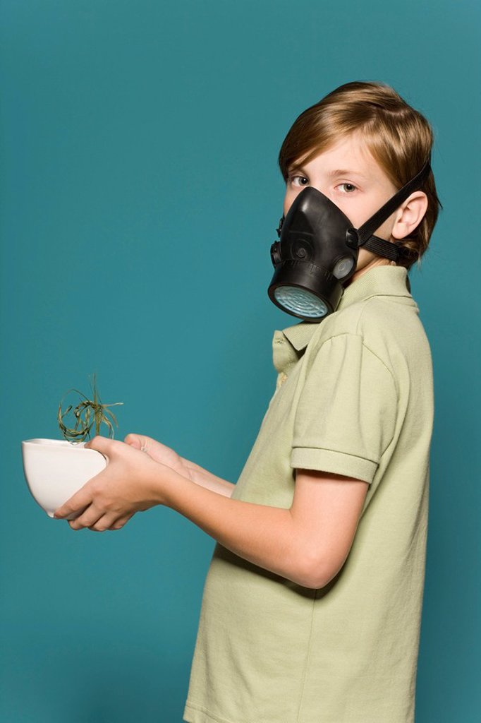 Stock Photo: 1569R-9056649 Boy wearing gas mask, holding wilted potted plant