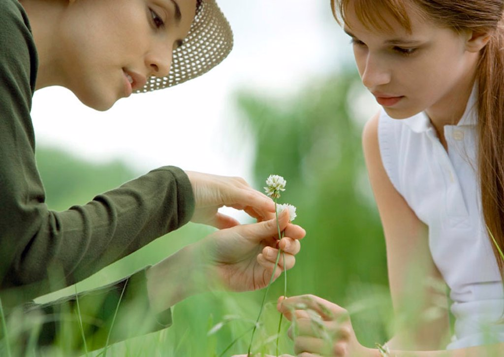 Young woman and girl looking at flowers : Stock Photo