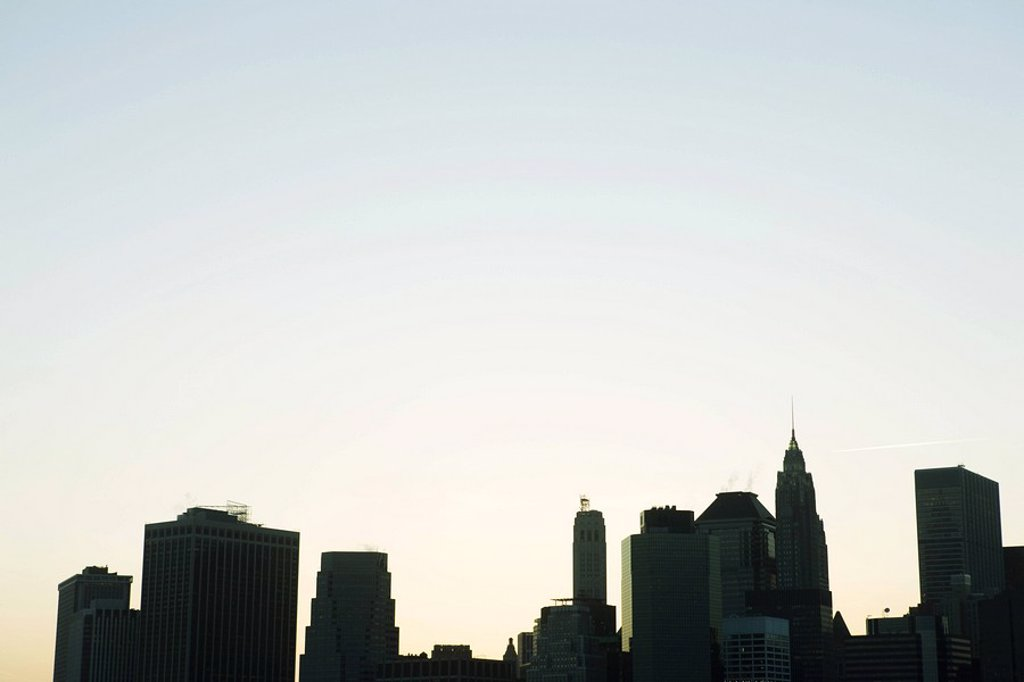 Silhouette of Manhattan skyline : Stock Photo