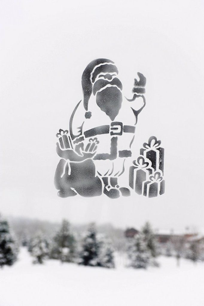 Santa Claus image on frosted glass : Stock Photo