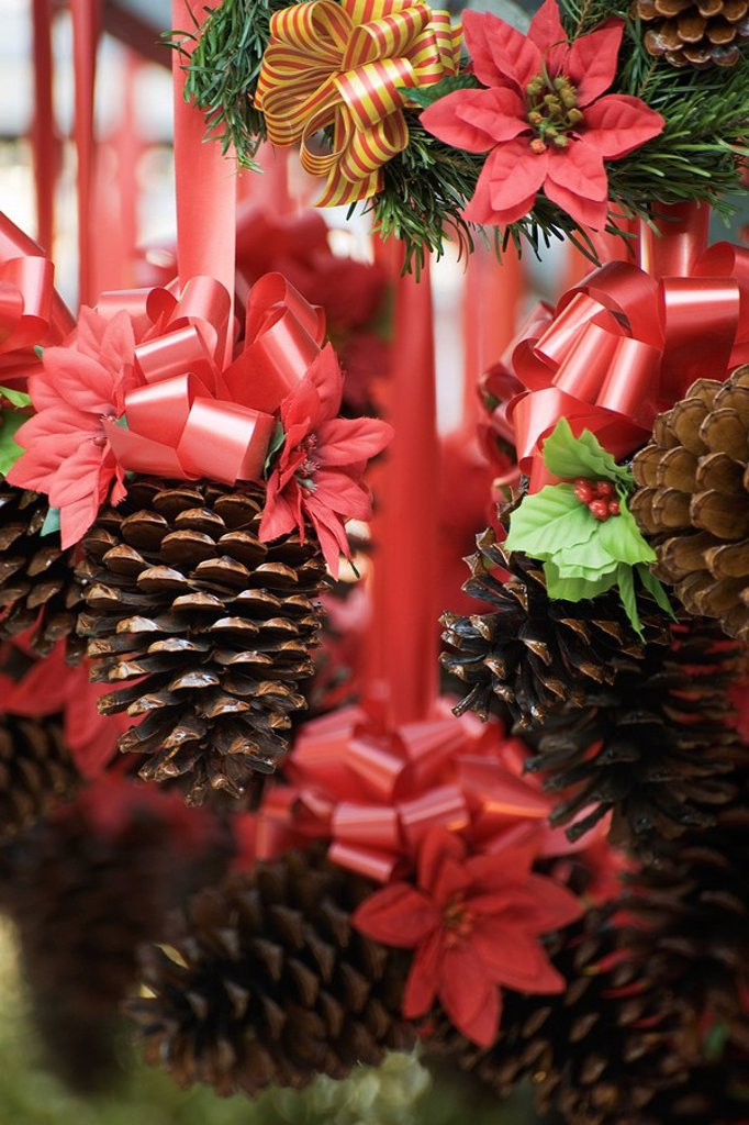 Pine cone and poinsettia Christmas decorations : Stock Photo