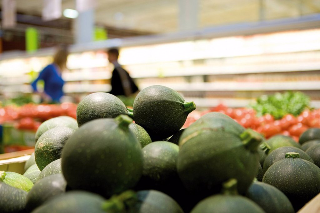 Globe zucchini display in supermarket produce section : Stock Photo
