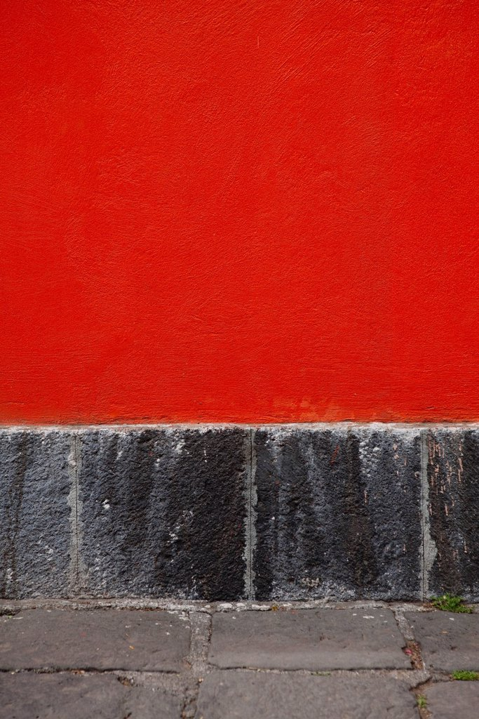 Red stucco wall, close_up : Stock Photo