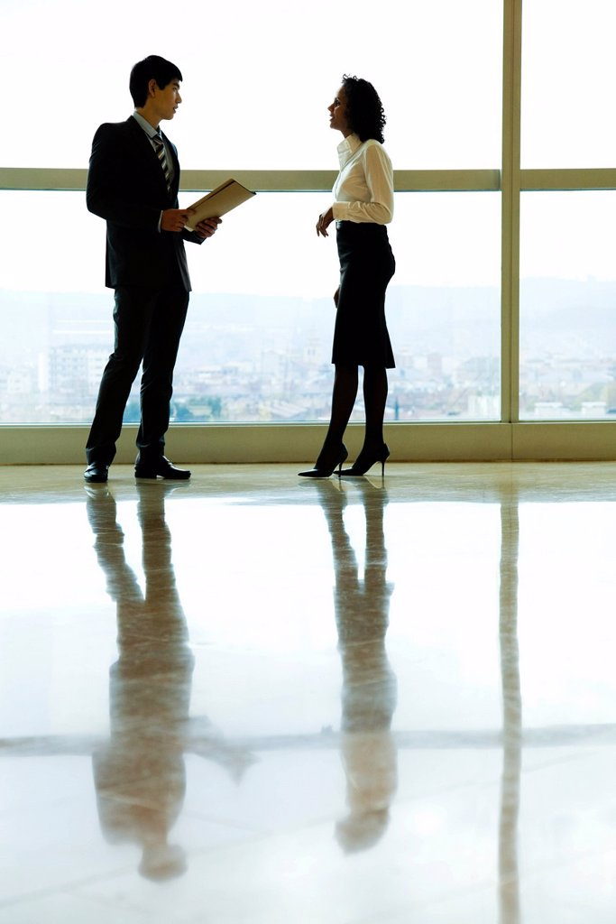 Stock Photo: 1569R-9068245 Executives talking in lobby