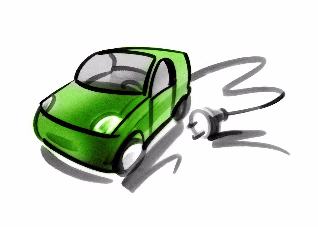 Electric car with electric cable and plug : Stock Photo