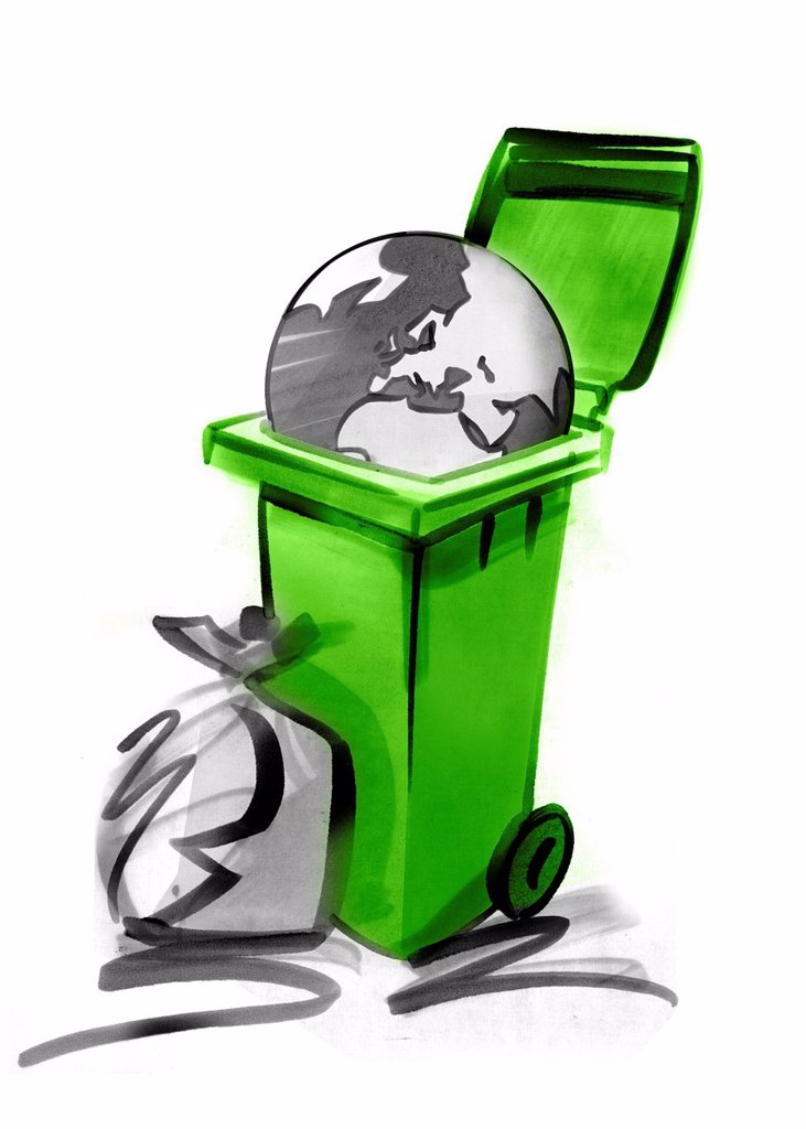 Stock Photo: 1569R-9068886 Planet in garbage can