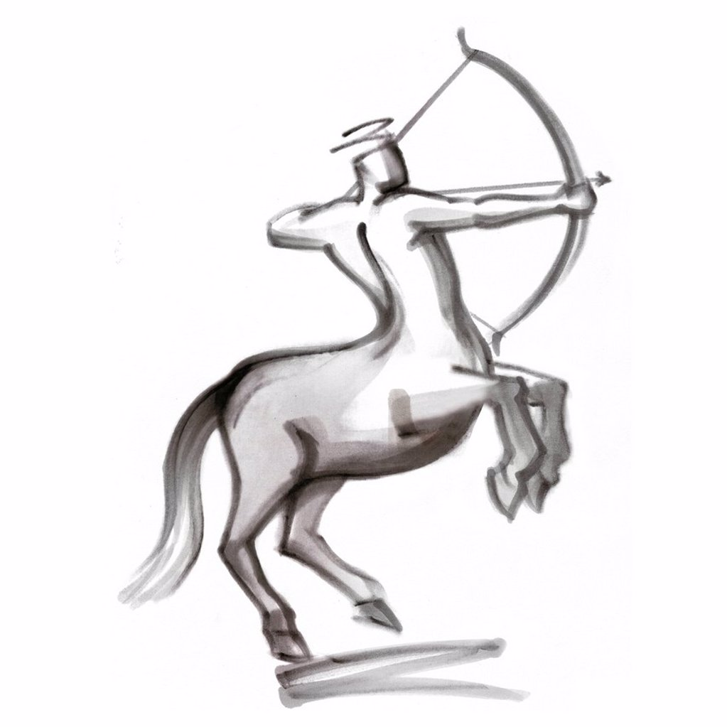 Sagittarius astrological sign, illustration : Stock Photo