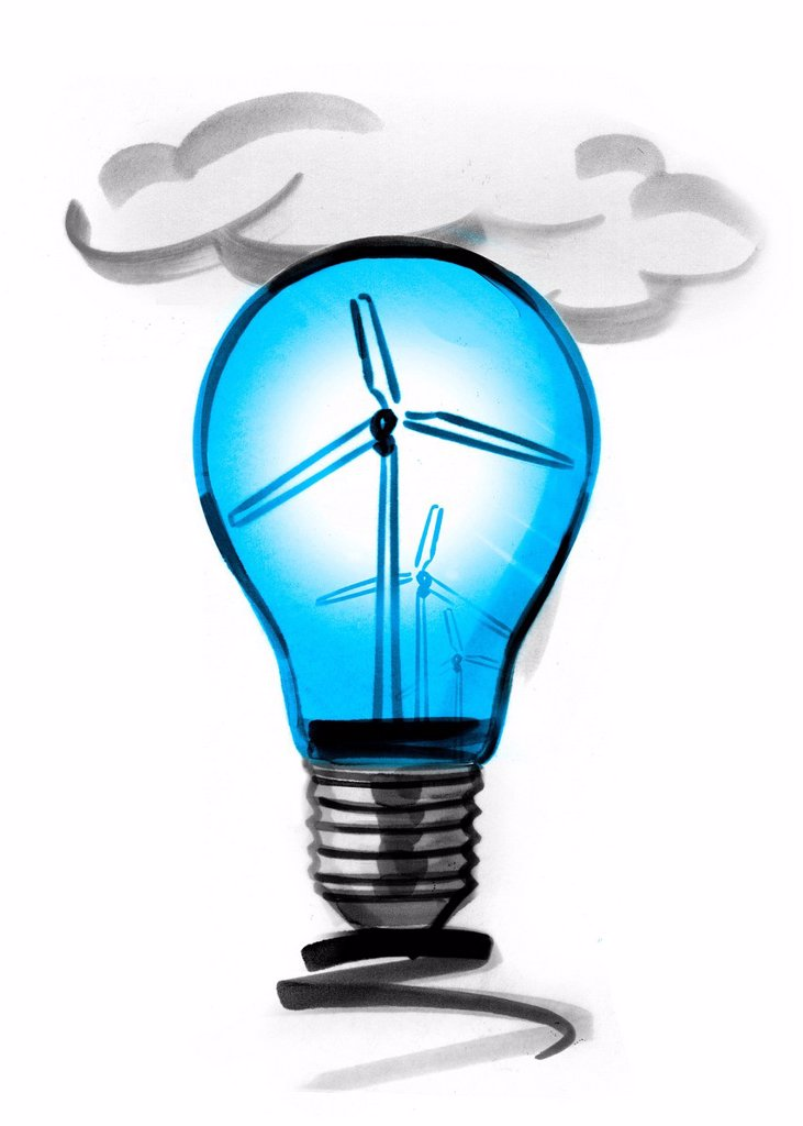 Wind turbines in light bulb : Stock Photo