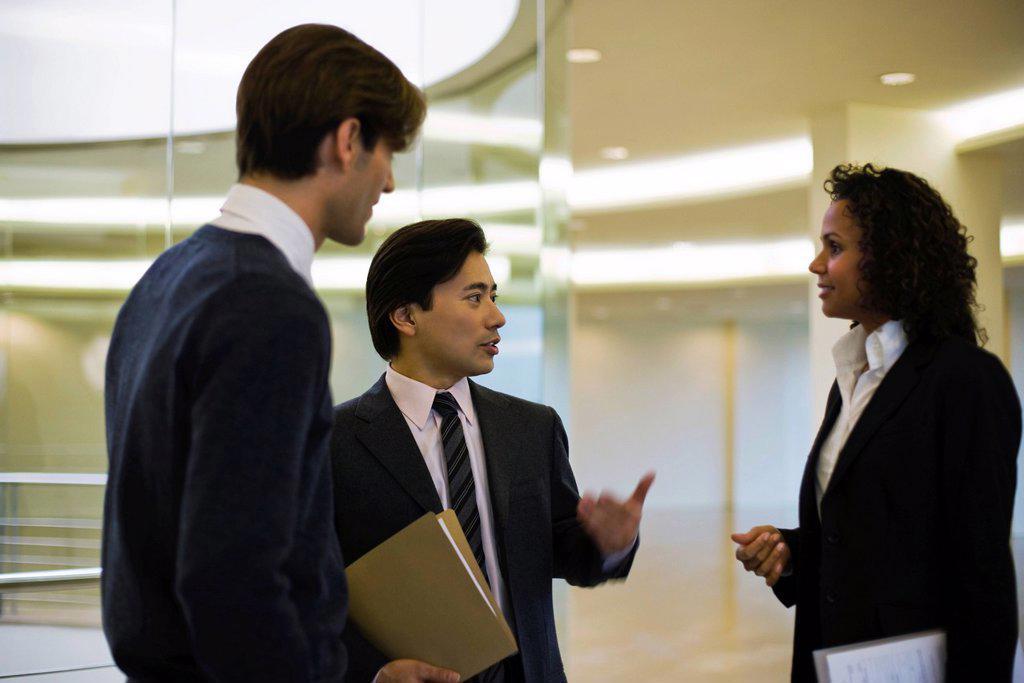 Executives talking in corridor : Stock Photo