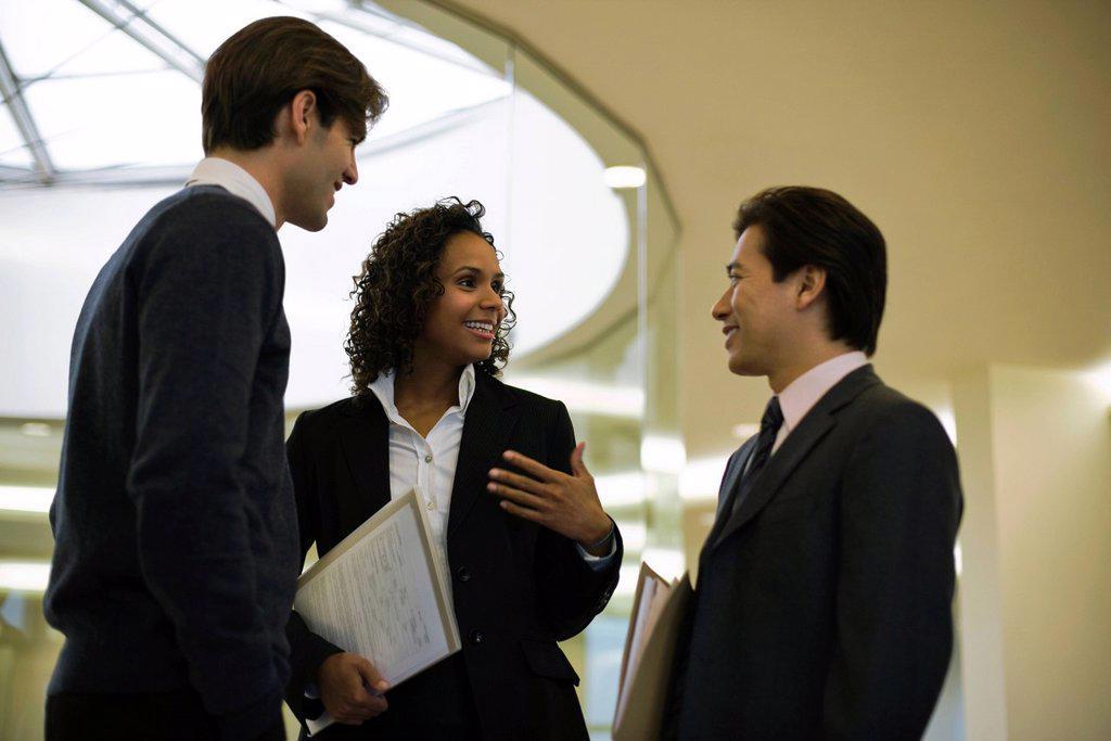 Stock Photo: 1569R-9069241 Executives talking in corridor