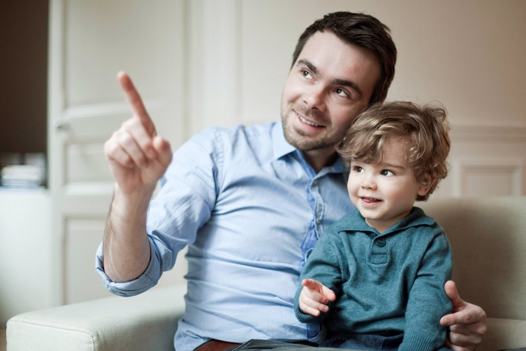 Father and young son, portrait : Stock Photo