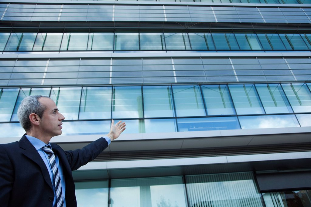 Executive gesturing at office building : Stock Photo