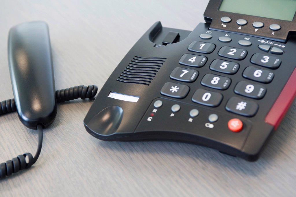 Stock Photo: 1569R-9070123 Receiver off landline phone