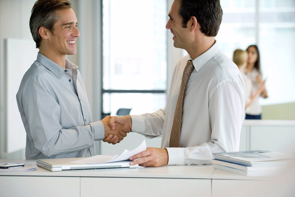 Executives shaking hands : Stock Photo