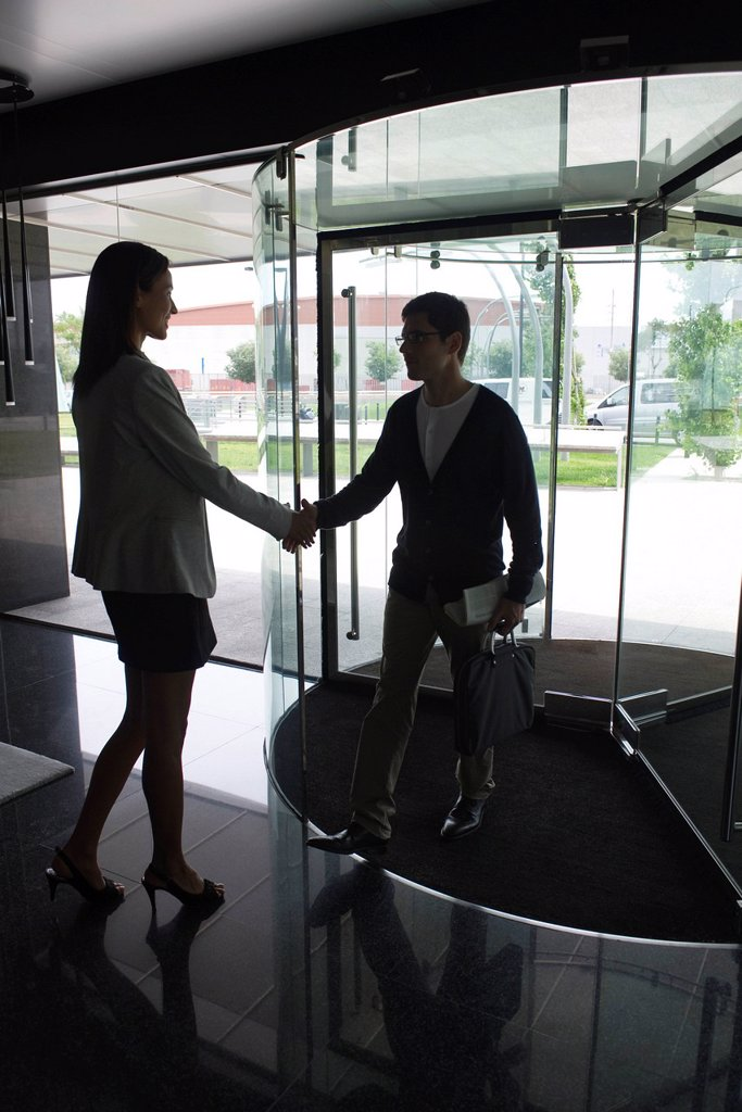 Business people greeting each other with handshake : Stock Photo