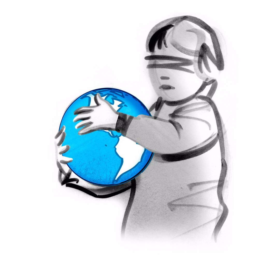 Blindfolded child holding globe : Stock Photo