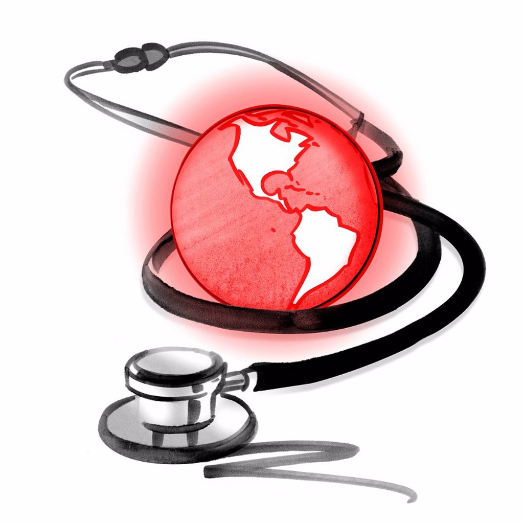 Stock Photo: 1569R-9070469 Red planet earth and stethoscope