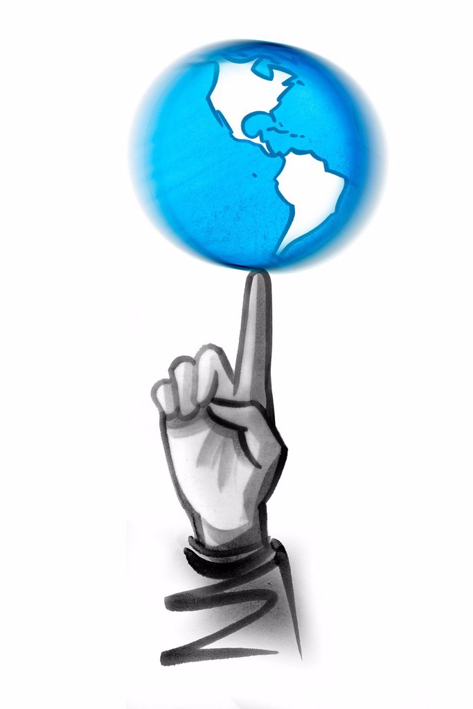 Index finger spinning globe : Stock Photo