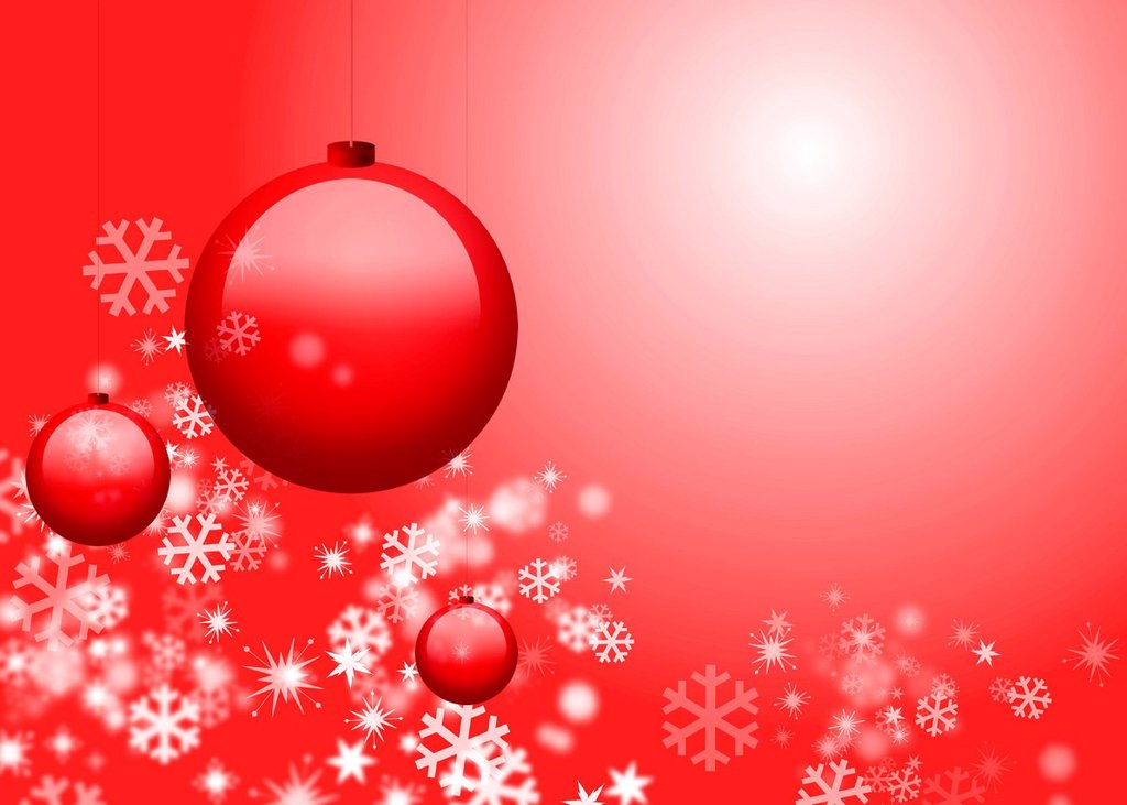 Stock Photo: 1569R-9070708 Christmas ornaments and snowflakes on red background