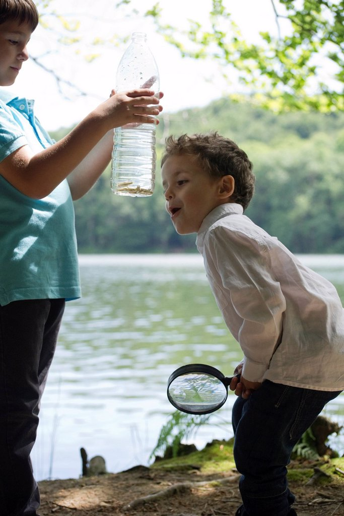 Children studying fish in water bottle : Stock Photo