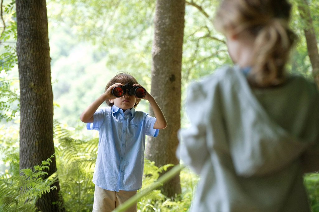 Children in woods, boy looking through binoculars : Stock Photo