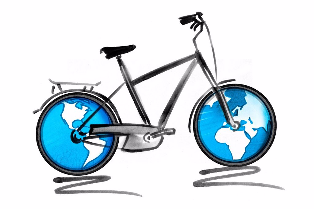 Stock Photo: 1569R-9071864 Bicycle with globes as wheels
