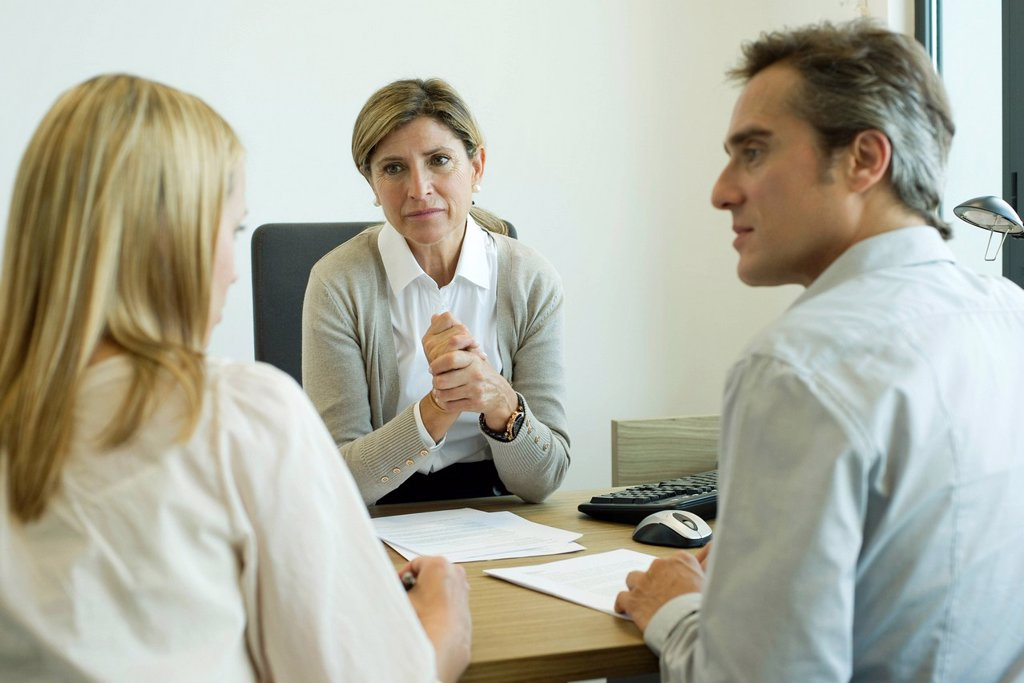 Stock Photo: 1569R-9071898 Businesswoman talking with clients in office