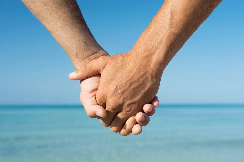 Two men holding hands, cropped : Stock Photo