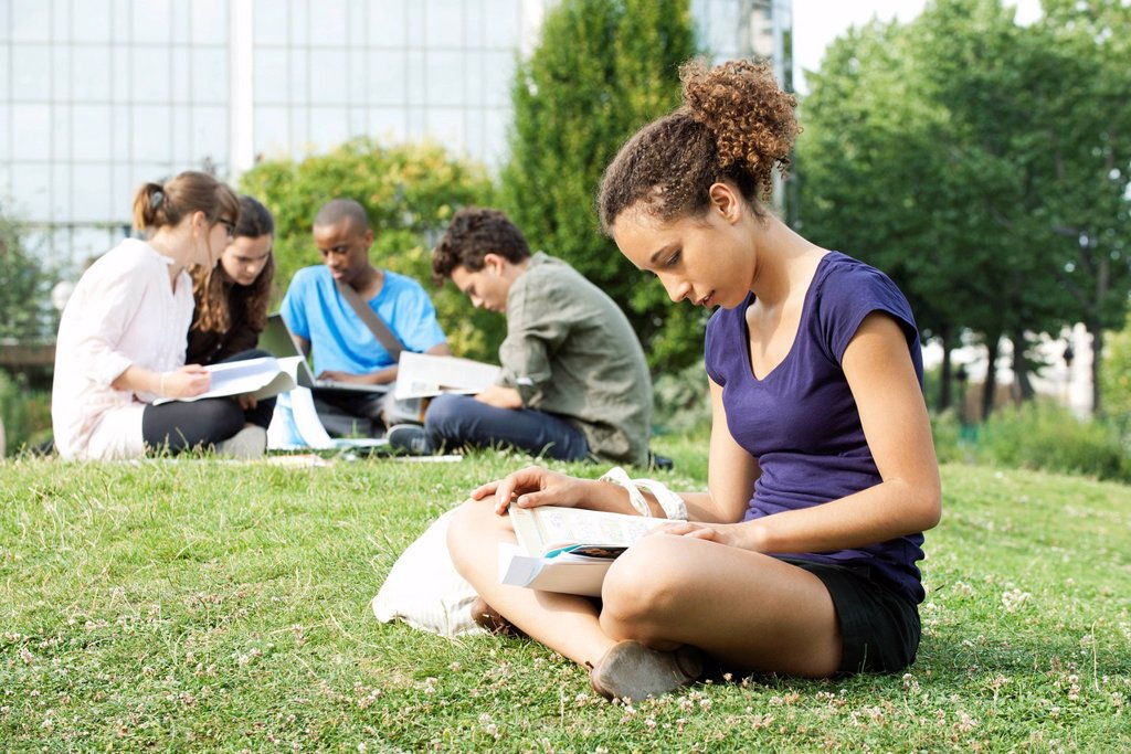 Stock Photo: 1569R-9072219 Young woman reading book on grass, group of young people in background