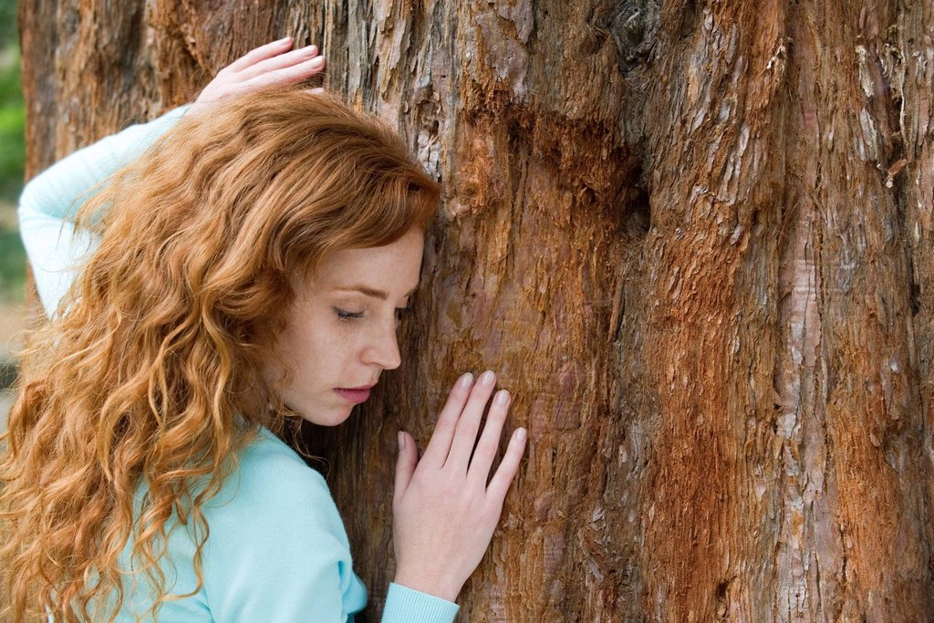 Stock Photo: 1569R-9072323 Young woman touching tree, portrait
