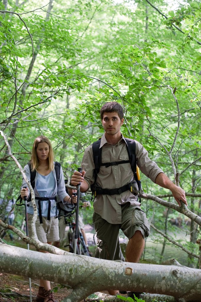 Stock Photo: 1569R-9072550 Friends hiking in woods