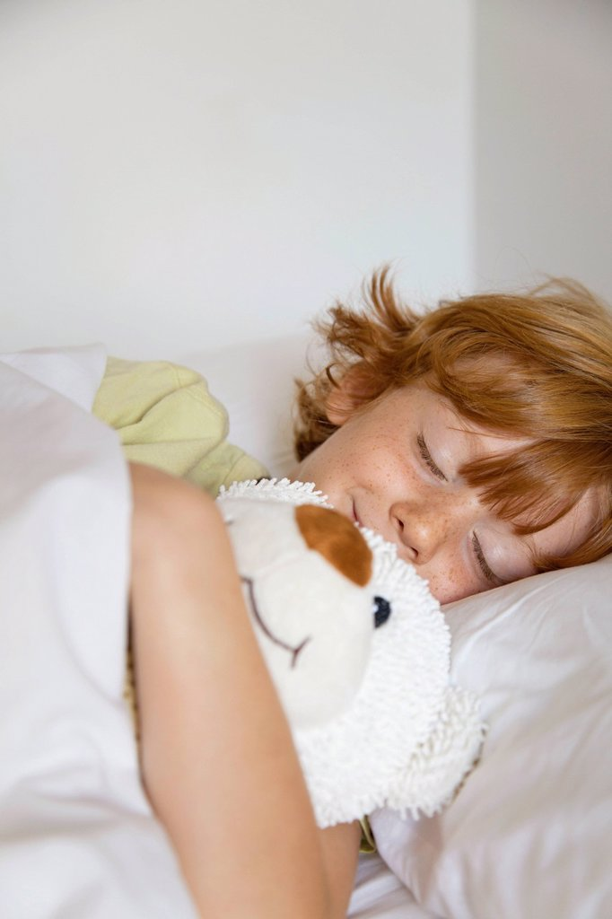 Stock Photo: 1569R-9073470 Boy sleeping in bed
