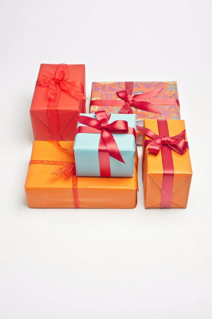 Stock Photo: 1569R-9073704 Festively wrapped gifts