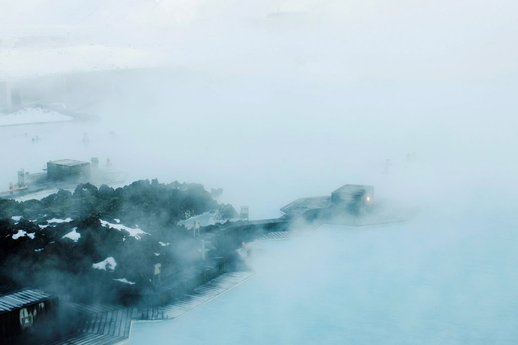 Blue Lagoon geothermal spa, Reykjanes Peninsula, Iceland : Stock Photo