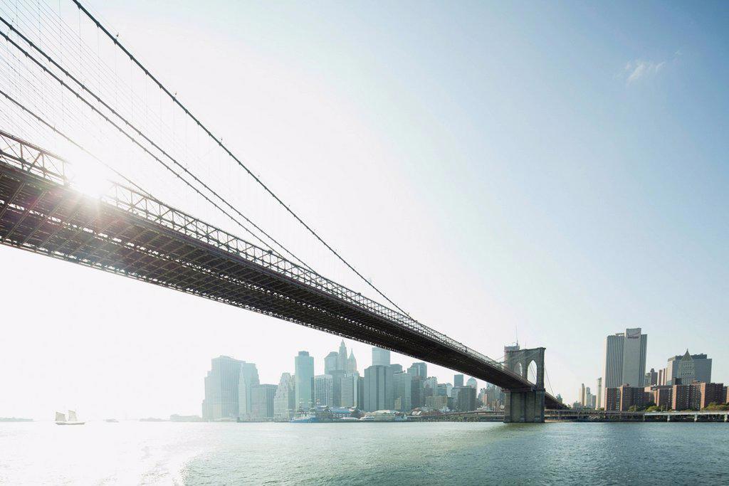 Stock Photo: 1569R-9074720 Brooklyn Bridge and lower Manhattan, New York City, New York, USA