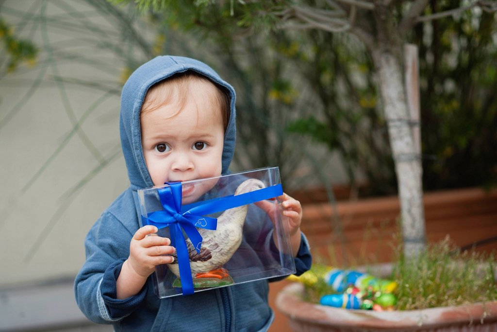Toddler boy biting box containing Easter candy : Stock Photo