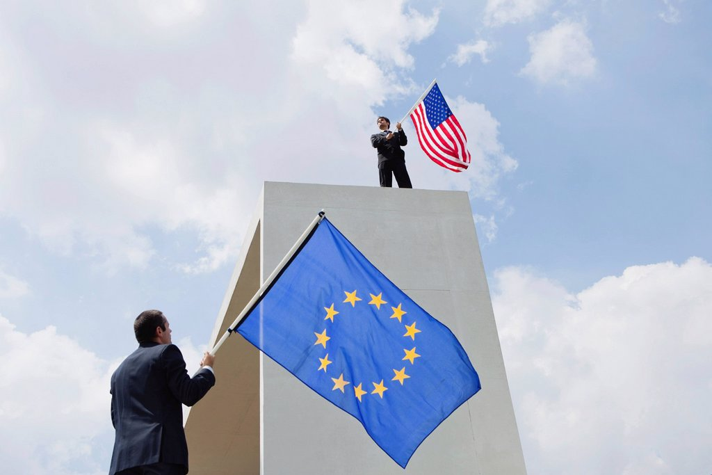 The United States competes economically with the European Union : Stock Photo