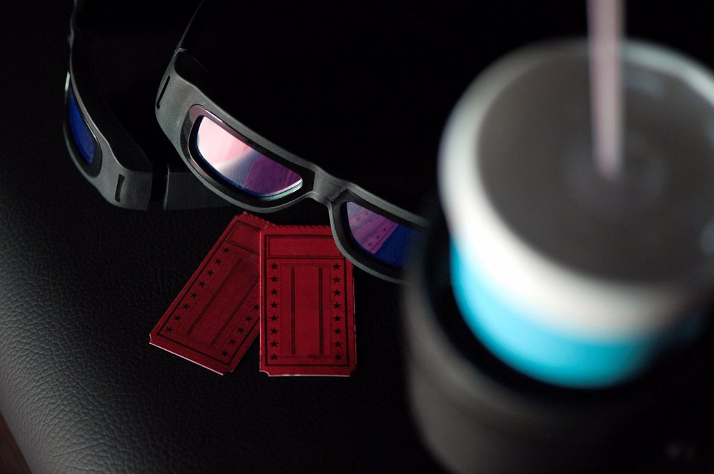 Stock Photo: 1569R-9075412 3_D glasses and movie tickets