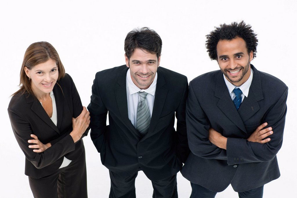 Business associates standing together, portrait : Stock Photo