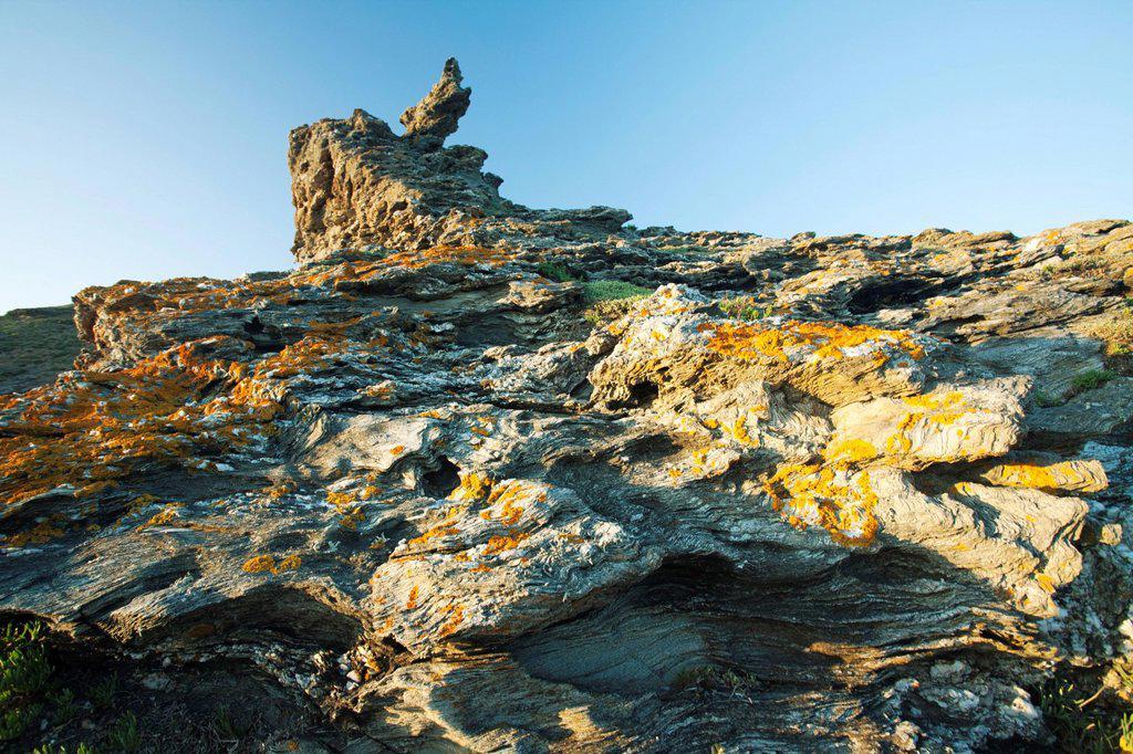 Rock formation, Belle_Ile_en_Mer, Morbihan, Brittany, France : Stock Photo