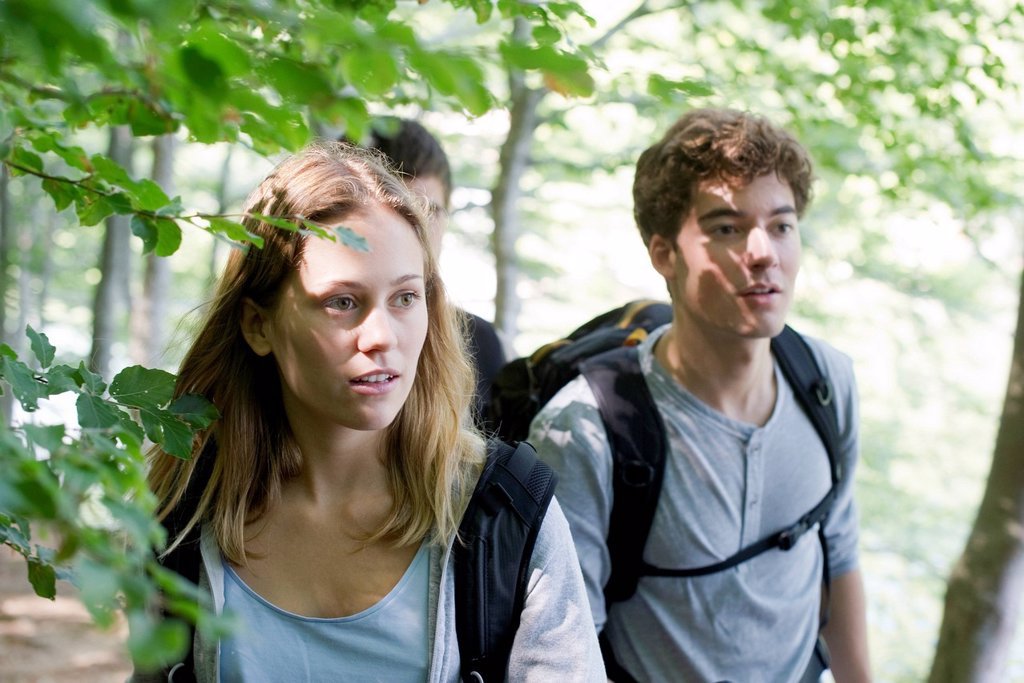 Friends hiking in woods : Stock Photo