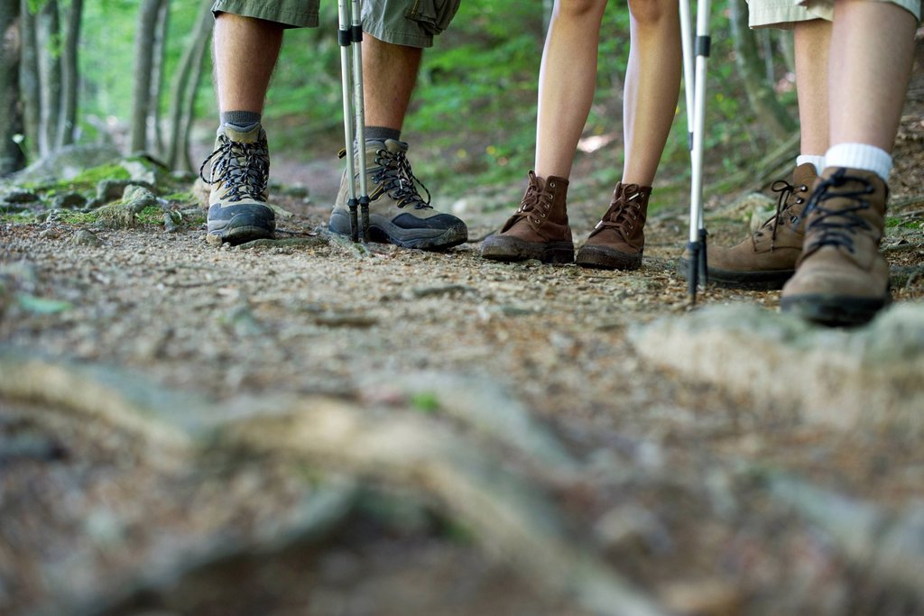Stock Photo: 1569R-9076568 Hikers in hiking boots, low section