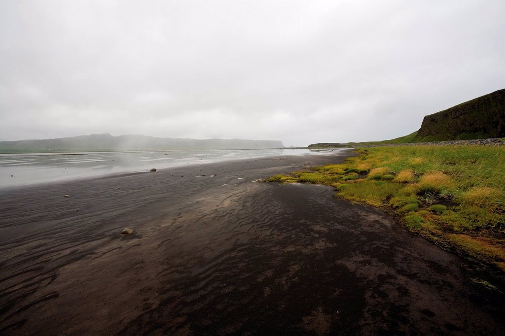 Black sand beach, Dyrhlaey peninsula, Iceland : Stock Photo