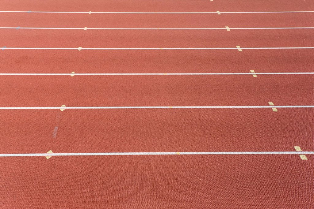Stock Photo: 1569R-9077308 Lanes of running track